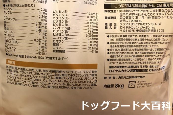 ロイヤルカナン消化器サポート低脂肪の原材料