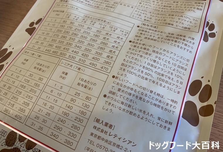 アランズナチュラルドッグフード・ラムの給与方法の詳細写真